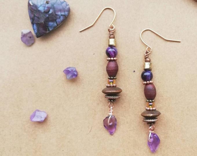 Rustic Amethyst Wood & Gemstone Earthy Drop Earrings