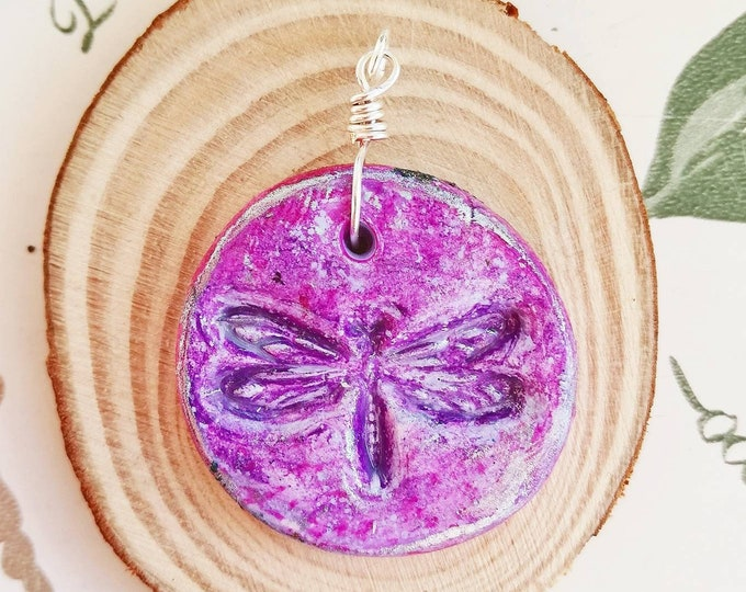Dragonfly Pendant Necklace in Pink, Purple with choice of chain