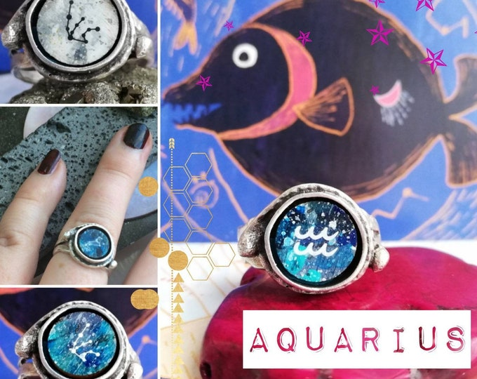 Silver Aquarius Ring - Adjustable Fit with Zodiac Constellation Illustration