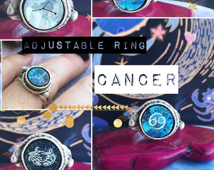 Silver Cancer Zodiac Ring - Adjustable Fit with Starsign Constellation