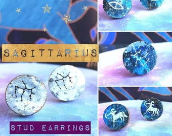 Sagittarius Stud Earrings - Handmade & Painted Astrology/Zodiac Constellation