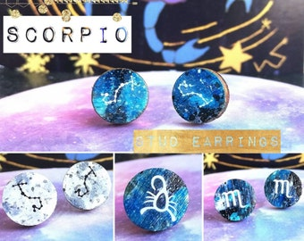 Scorpio Stud Earrings with Astrology/Zodiac Constellation