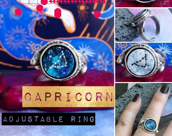 Silver Capricorn Ring - Adjustable Fit with Constellation Design