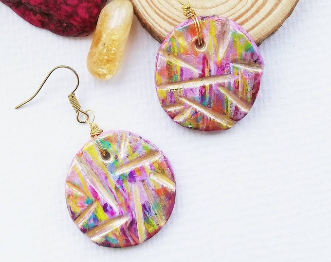 Unusual Hand painted Artisan Clay Earrings - Gold, pink, purple Vibrant Colours