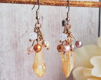 Raw Gemstone, Rough Quartz Geode Boho Statement Cluster Earrings, Rose Gold Unusual Artisan Bridal/Wedding - Peach, Pink, Gold Pearls, Cream