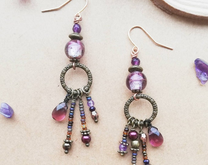 Bohemian Amethyst Statement Earrings with Beaded Drop Charms