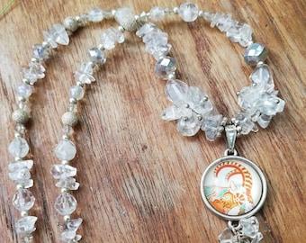 Capricorn Zodiac Gemstone Necklace with Crystal Quartz Healing Properties: Zodiac jewellery for December January Birthstone - Birthday Gift