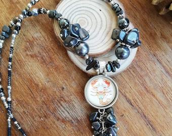 Scorpio Zodiac Gemstone Necklace with Hematite Healing Properties: Zodiac jewellery for October-November Birthstone - Birthday Gift