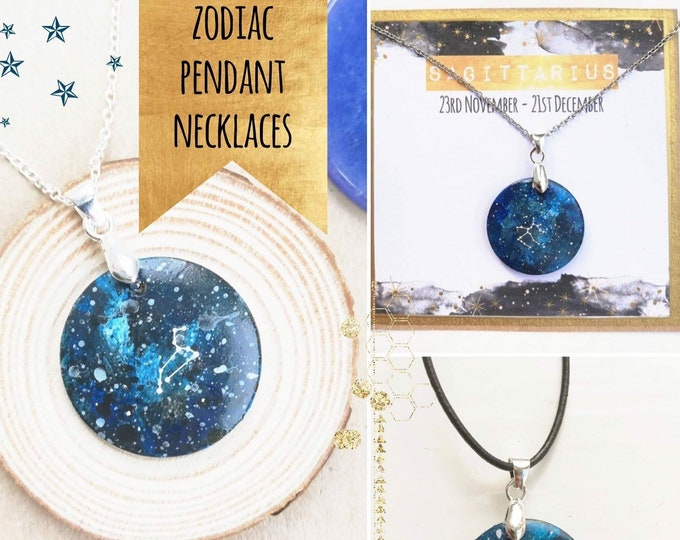 Custom Cosmic Necklace with Hand Painted Zodiac Constellation