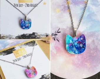 Cosmic Cats Zodiac Necklace: Fun Astrology Gift, Custom Handmade Birthday Necklace for Women, All Star Constellations inc Aries, Pisces, Leo