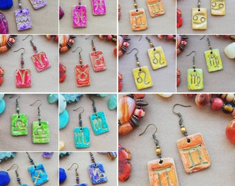 Zodiac Drop Earrings - Bold Statement Pendants in Clay with Gold Symbols