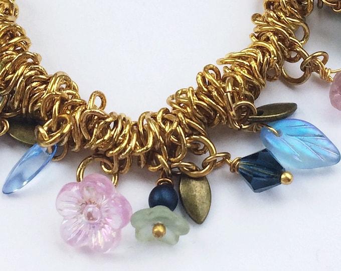 Gold Charm Bracelet with Floral Beads in Blue, Pink, Purple - Adjustable Elastic Stretch Bracelet