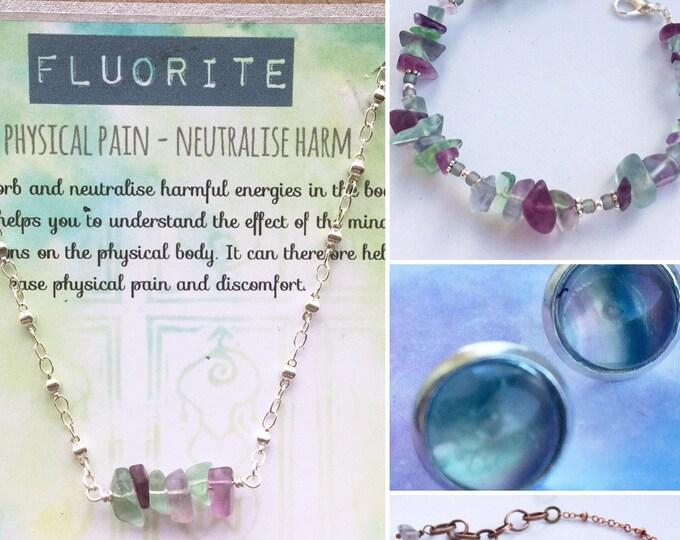Holistic Healing Gemstone Bracelet , Necklace & Earrings for Pain Relief - Fluorite