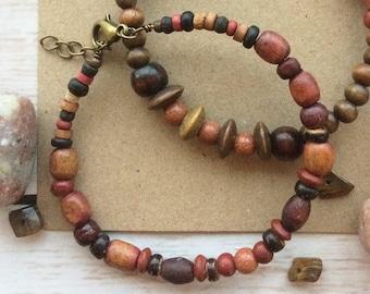 Men's or Women's Wood Beaded Bracelet with Goldstone Gemstones