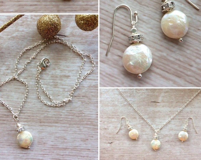 Matching Pearl Necklace and Earrings for Women - Luxury Biwa Cream Pearls with Rhinestones