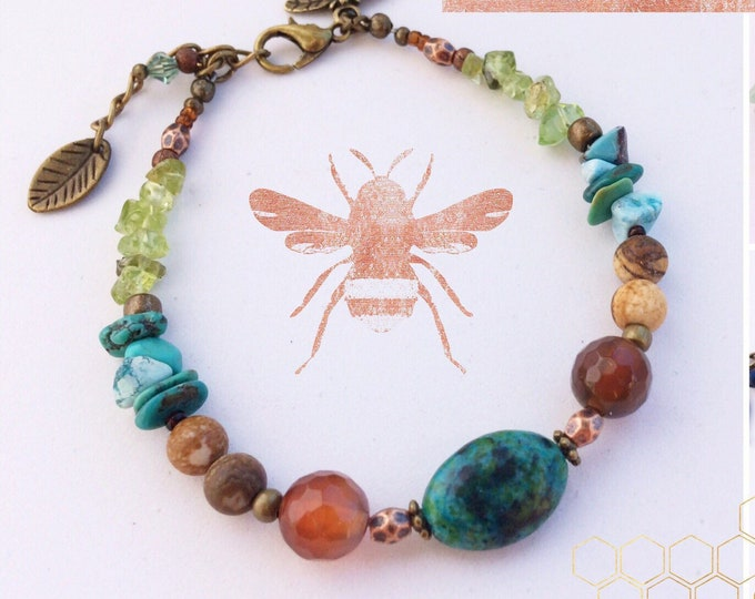 Gemstone Beaded Bracelets  - Selection in Rustic Earthy Shades of brown, turquoise and green