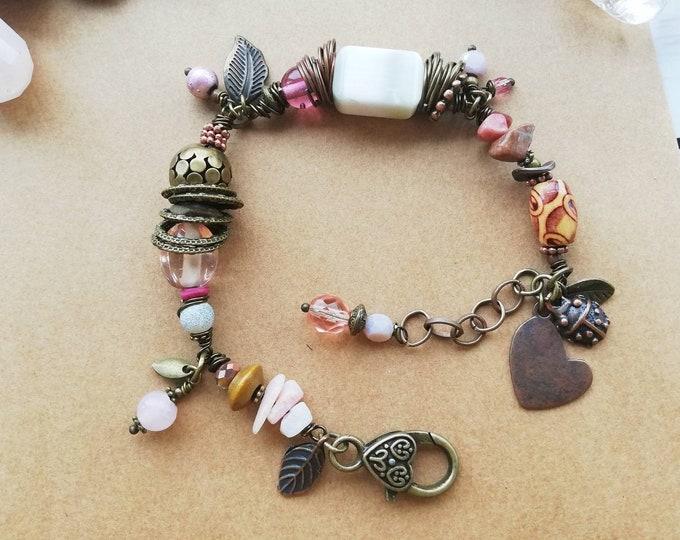 Pink & Antique Gold Beaded Bracelet
