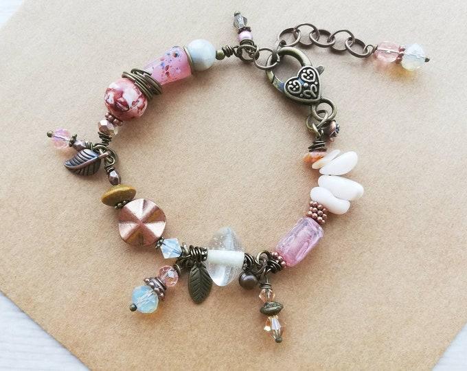 Rose gold, pink, copper Beaded Gemstone Bracelet f