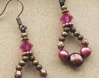 Pink Boho-Luxe Copper Freshwater Pearl Drop Earrings