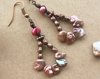 Copper, Bronze Beaded Jewelry with Pink Freshwater Pearls