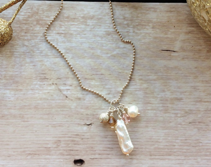 Biwa Pearl Necklace - Sterling Silver with A grade Freshwater Pearls & Swarovski Crystals