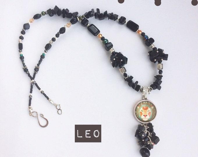 Leo Zodiac Gemstone Necklace: July - August Birthstone with Black Onyx Gemstone - Unusual Astrology Birthday Gift - Chunky Beaded Jewelry