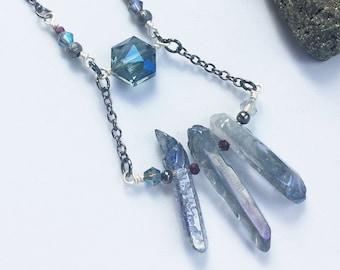 Rough Crystal Quartz Shard Necklace - Rainbow Titanium Iridescent Finish - Raw Geode Point Gemstone Black Chain Statement Handmade Necklace