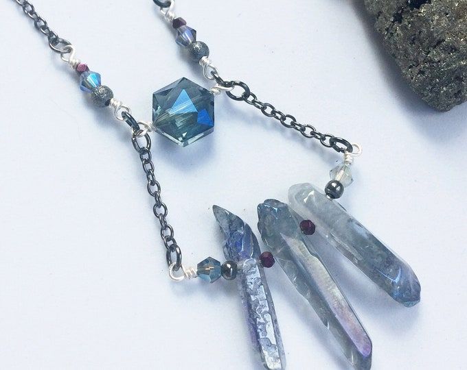 Rough Crystal Quartz Three Shard Necklace
