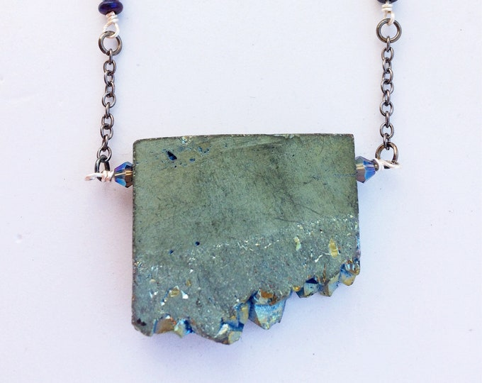 Unusual Raw Geode Statement Necklace