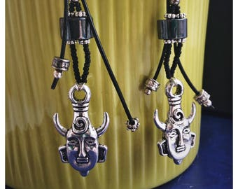Black and Silver Unusual Shaman Earrings with Leather and Hematite