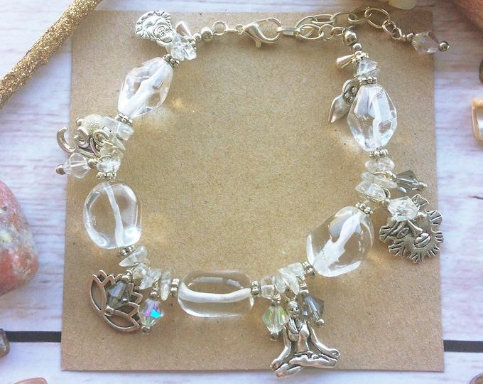 Silver Yoga Meditation Healing Bracelet with Crystal Quartz Gemstones