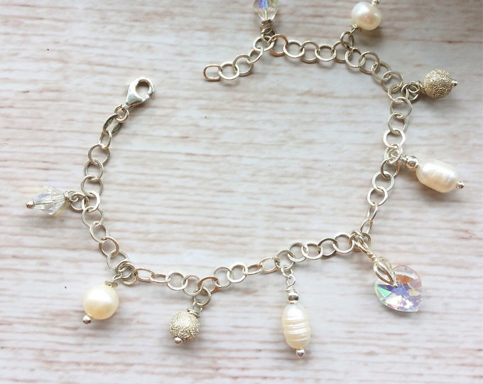 Bridal Sterling Silver Bracelet - Freshwater Pearls & Crystal Heart