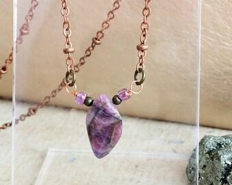 Purple Raw Tourmaline Gemstone Shard Pendant on Copper Rose Gold Necklace