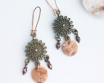 Unusual Shell Bronze & Rose Gold Gypsy Dangle Earrings - Hippie, Boho, Natural Jewelry - Chandelier Dangle Drop - Unique Pretty Summer Style