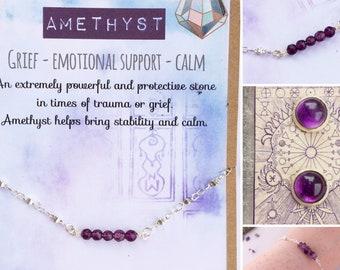 Healing Crystal Gemstone Bracelet, Necklace & Earrings - Amethyst for Grief