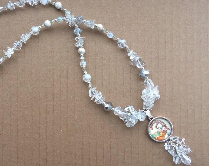 Capricorn Zodiac Gemstone Necklace with Crystal Quartz Healing Properties