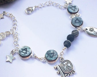 Silver Earth Sign Bracelet with Gemstone Beads, Star charms, Crescent Moon & Sun