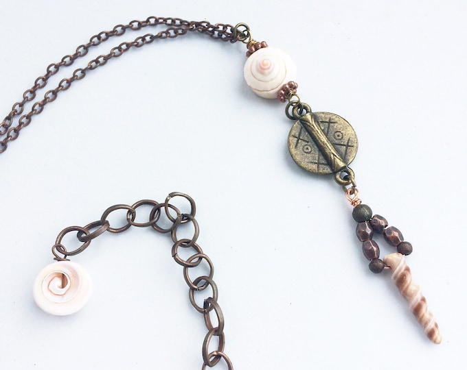 Long length boho shell pendant necklace with copper/bronze chain - Unusual, rustic, contemporary, bohemian tribal statement festival jewelry