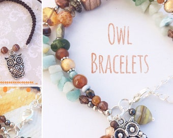 Owl Bracelets in Two Designs: Women's beaded gemstone bracelet & Unisex Men's bracelet