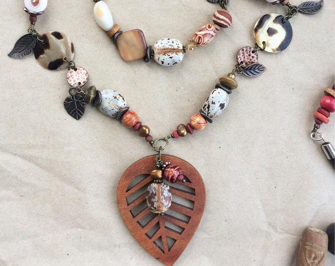 Boho Beaded Necklace with Leaf Wood Pendant
