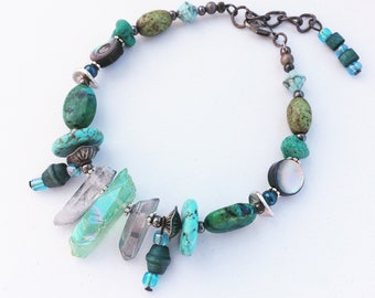 Unusual Green Rough Crystal Bracelet - Geode, Crystal Point Chunky Bracelet, Turquoise, Black, Statement Jewelry, Contemporary & Unique