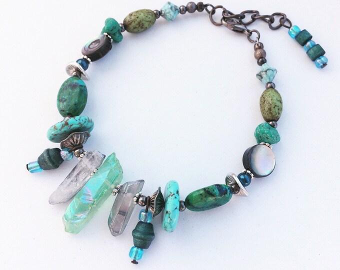 Turquoise Gemstone Beaded Agate Geode Crystal Chunky Bracelet