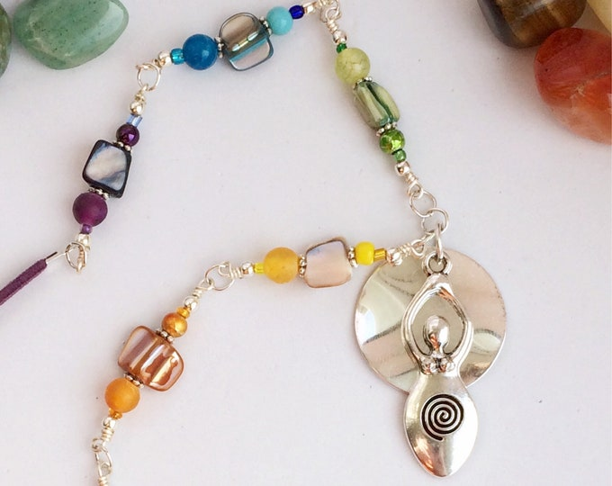 Rainbow Chakra Meditation Necklace with Spiral Silver Goddess Pendant
