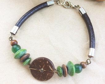 Leather & Wood Bead Bracelets for Men or Women - Boho Rustic Style