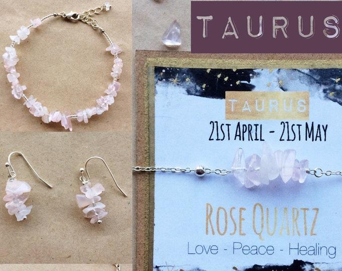 Taurus Birthstone Jewelry Gift with Rose Quartz Gemstone - Zodiac Unisex/Men's Bracelet, Necklace, Earrings - April May Birthday