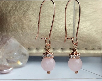 Crystal Rose Quartz Earrings with Short Drop in Rose Gold