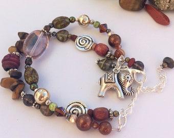 Elephant Bracelets - 3 Designs: Women's beaded gemstone bracelets & Unisex Men's bracelet