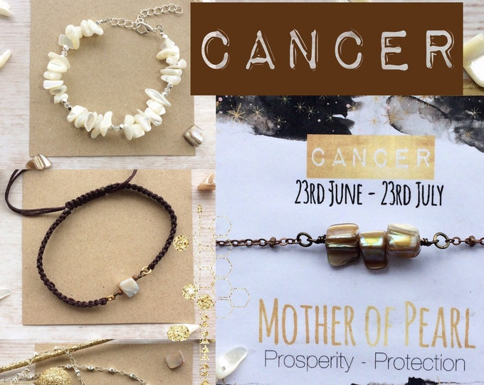 Cancer Zodiac Gift - Bracelet, Necklace, Earrings with Pearl Gemstone