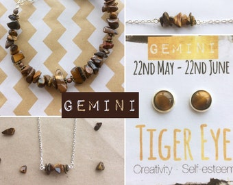 Gemini Birthstone Jewelry with Tiger Eye Gemstone -Unisex Bracelet, Necklace, Earrings