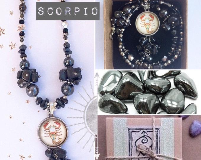 Scorpio Zodiac Gemstone Necklace with Hematite Healing Properties